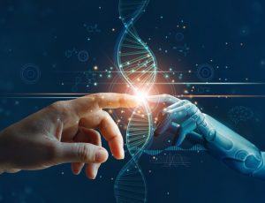 Hands,Of,Robot,And,Human,Touching,On,Dna,Connecting,In