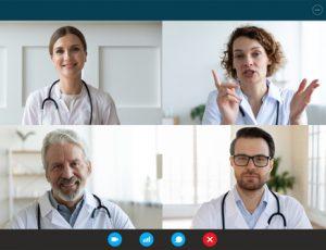 Pc,Screen,Webcam,View,,Head,Shot,Portrait,Four,Diverse,Medical